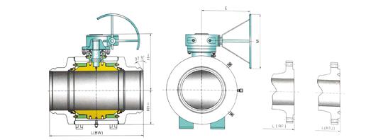 筒形体全焊接固定式球阀图片